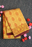 Golden colour kanchipuram tissue silk saree with traditional maroon border