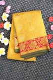 Yellow colour pure silk saree with floral design brocade and maroon colour border and pallu