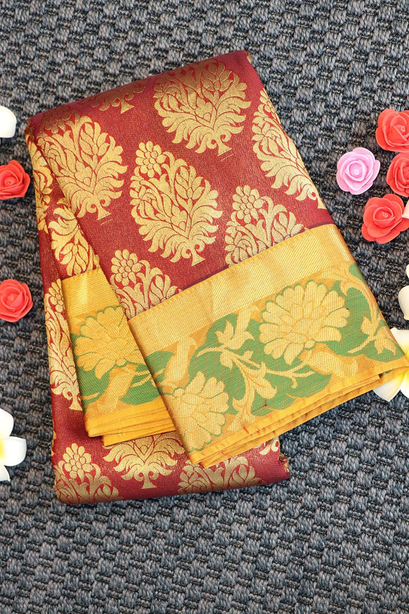 Traditional maroon colour saree with mustard yellow combination