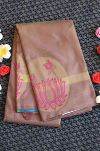 Grey colour paatli style silk saree with 2 different colours in the beginning of the saree
