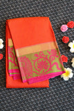 Orange colour pure soft silk saree with pink colour border and pallu