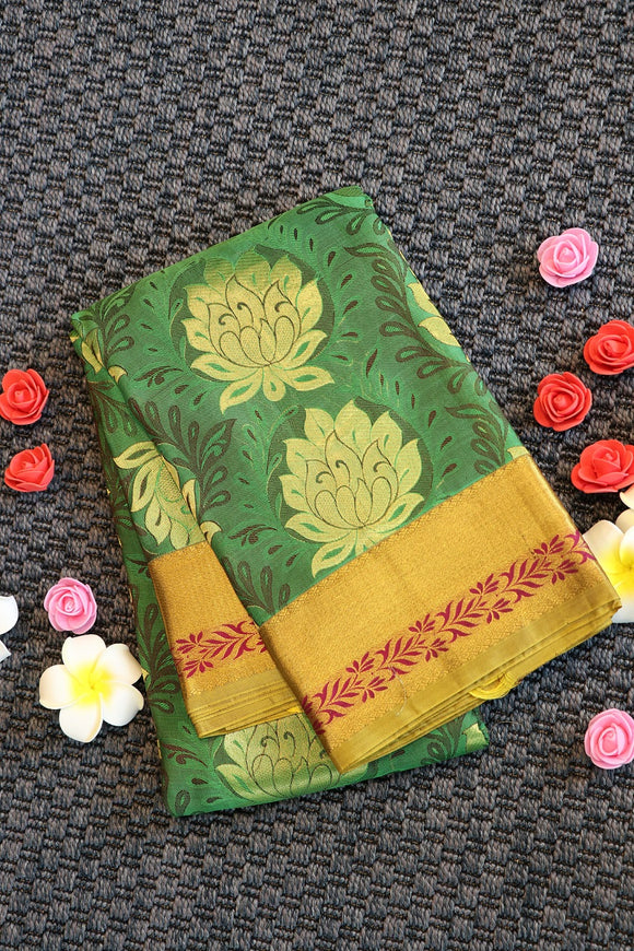 Green colour silk saree with embose floral design