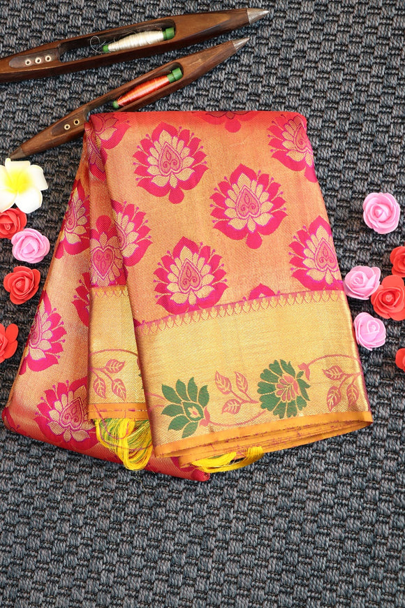 Pink colour silk saree with floral design with contrast border and pallu
