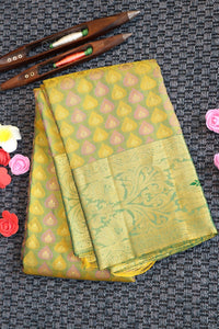 Lime green kanchipuram silk saree with silk weaving