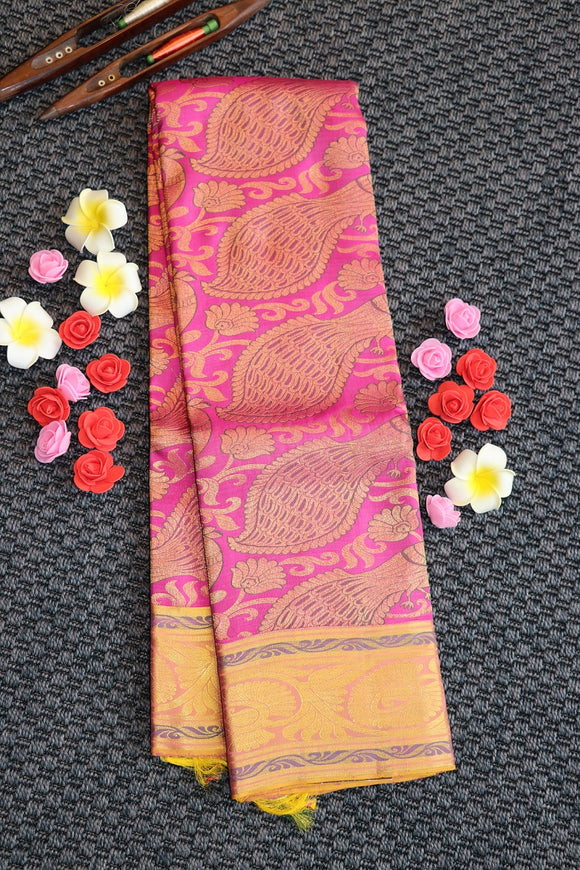Rose pink colour kanchipuram saree with peacock design