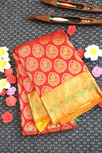 Red colour kanchipuram silk saree with traditional yellow colour border and pallu