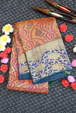 Rose pink kanchipuram silk saree with contrast blue colour border and pallu