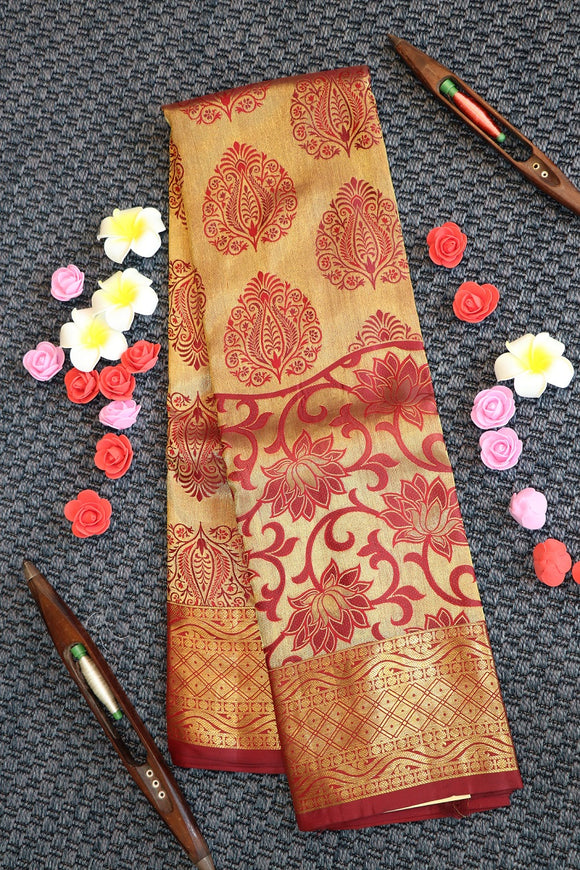 Maroon colour kanchipuram silk saree with unique brocade design