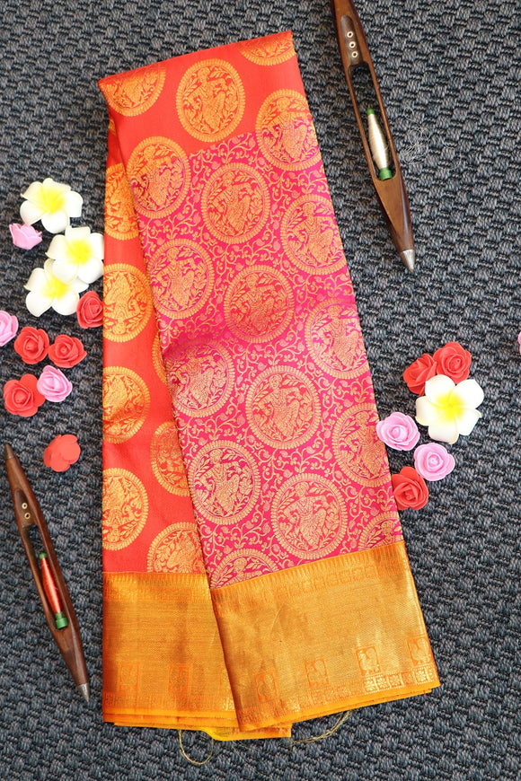 Pure kanchipuram silk saree with half and half colour design