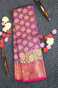 Purple blue colour kanchipuram silk saree with pink colour border and pallu