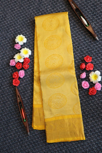 Bright yellow colour kanchipuram silk saree with self colour pallu and border