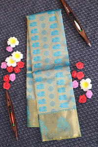 Blue colour kanchipuram silk saree with full zari brocade weaving