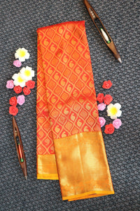 Red colour kanchipuram saree with traditional mango design with contrast border and pallu