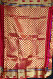Maroon colour kanchipuram silk saree with meena border