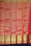 Red colour kanchipuram silk saree with traditional musical instruments design