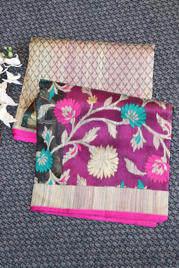 Banaras organza saree with jute silk weaving
