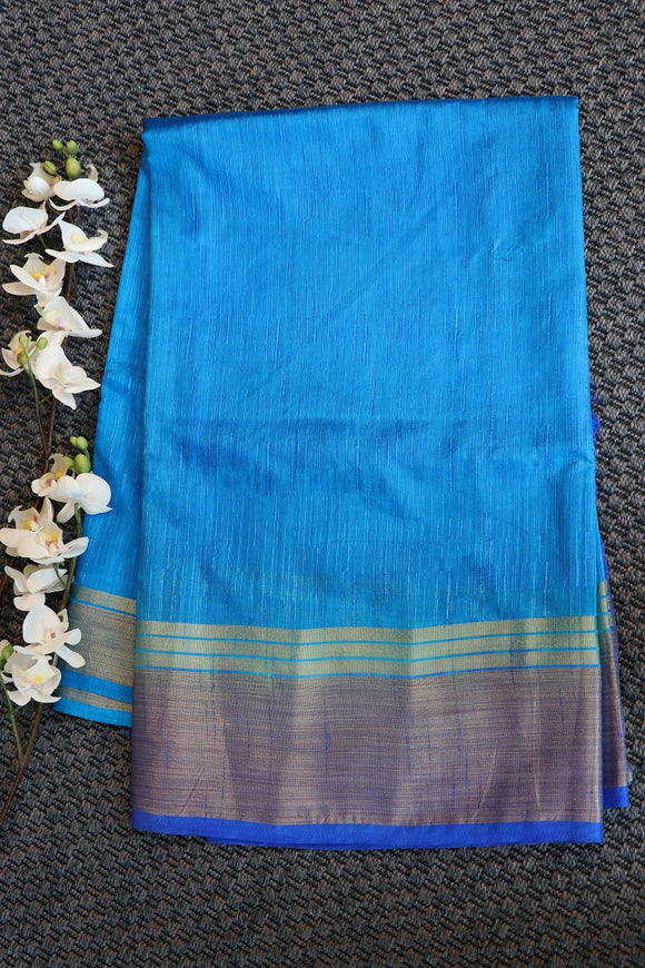 Blue colour dupion raw silk saree