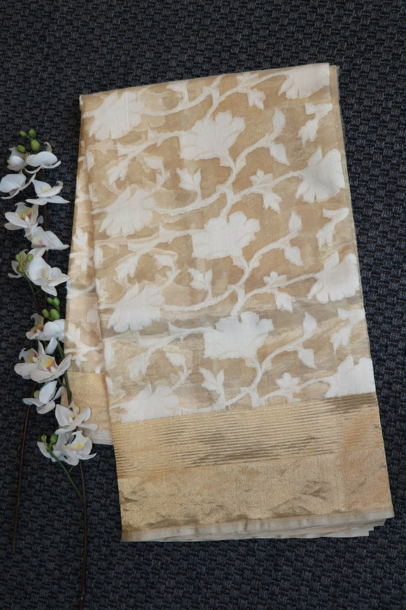 White colour banaras organza silk tissue saree