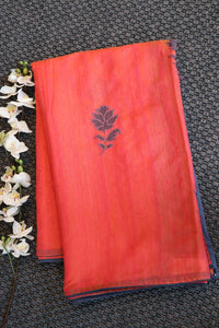 Peach colour bhagalpuri jute saree with patch work design