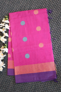 Pink colour bhagalpuri cotton silk saree with gold and silver zari polka dots design