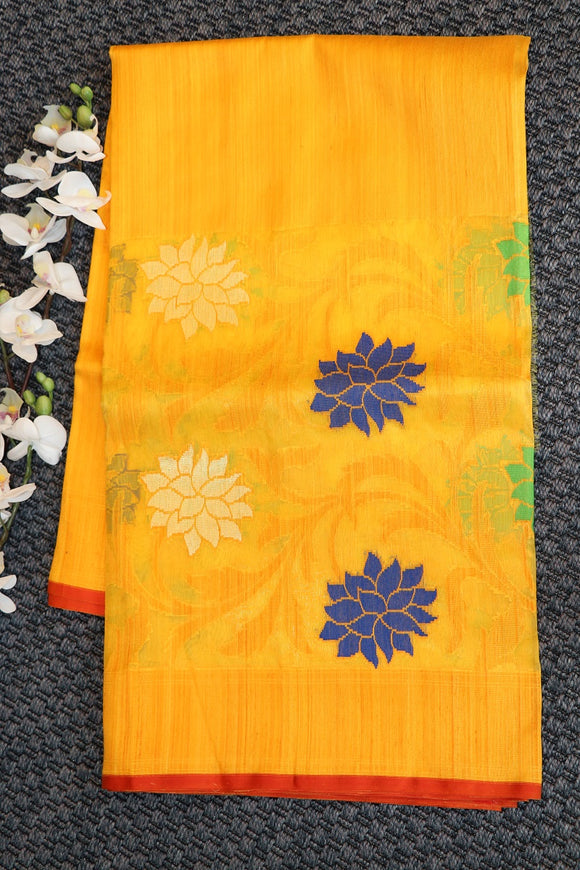 Yellow colour banaras kora silk saree with jute weaving
