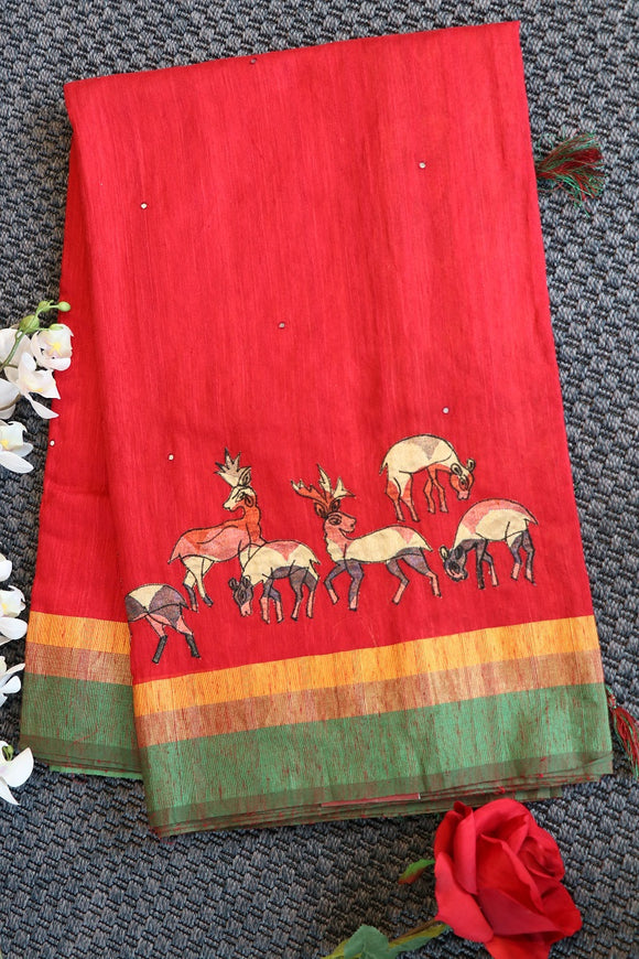 Red colour jute saree with patch work on the saree and digital printed pallu and blouse