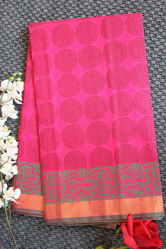 Pink colour chanderi printed saree