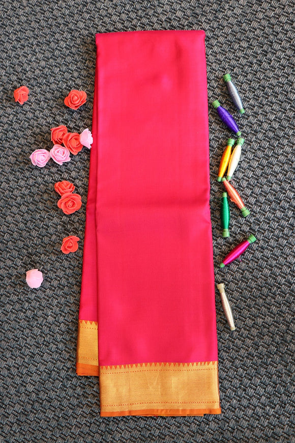 Pink colour plain soft silk saree with rich pallu with peacock design