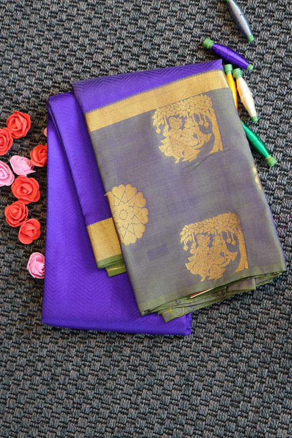 Blue colour pure silk saree with radha kirshna design in the border