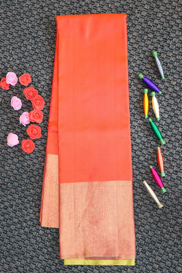 Peach colour plain pure silk saree with parrot green colour blouse and pallu