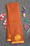 Mahogany brown colour pure silk saree with contrast pallu and blouse