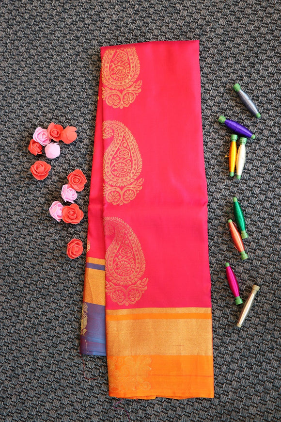Pink colour soft silk saree with ganja jamuna border