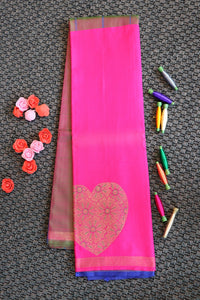 Pure soft silk saree with half and half design style