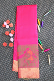 Pink colour soft silk saree with contrast blouse and pallu with beautiful tribal motifs