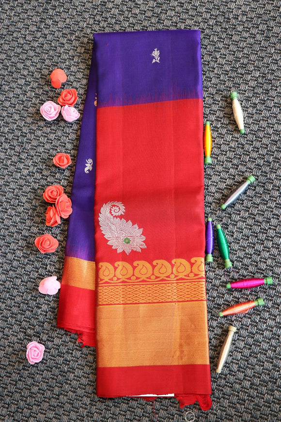 Navy blue colour soft silk saree with big red colour border with gold and silver zari weaving