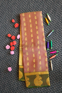 Grey colour pure silk saree with buttas design with contrast blouse and pallu