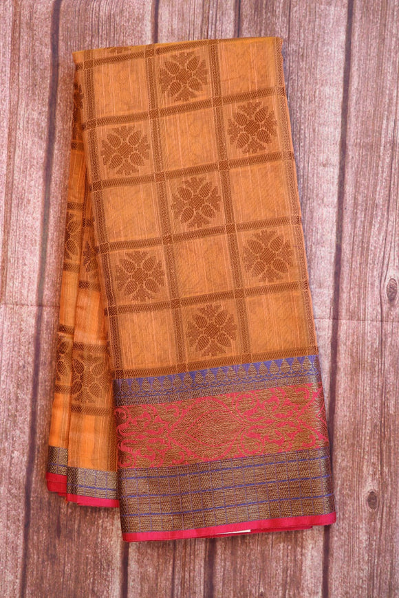 Peach colour jute saree with traditional zari weaving