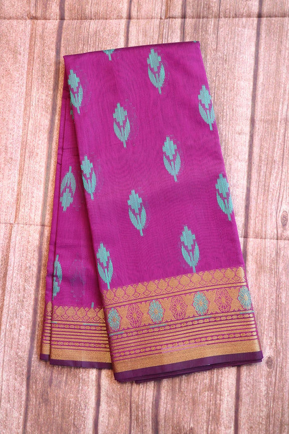 Purple colour cotton silk saree with self colour blouse