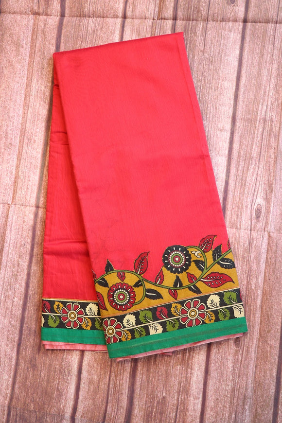 Jute cotton saree with kalamkari patch work and printed blouse