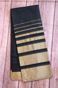 Black colour coimbatore sico saree with big zari border