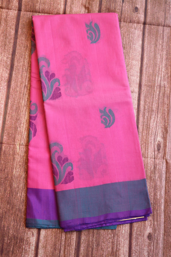 Pink colour coimbatore silk saree with floral weaving