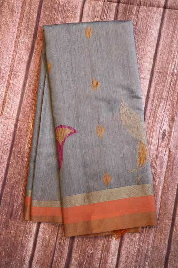 Steel grey colour soft jute saree with birds design