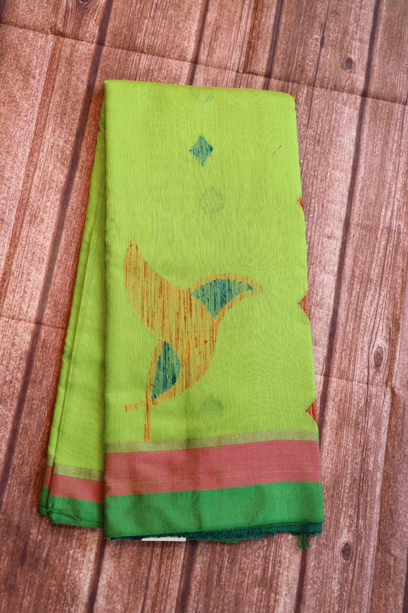 Green colour soft jute saree with birds design