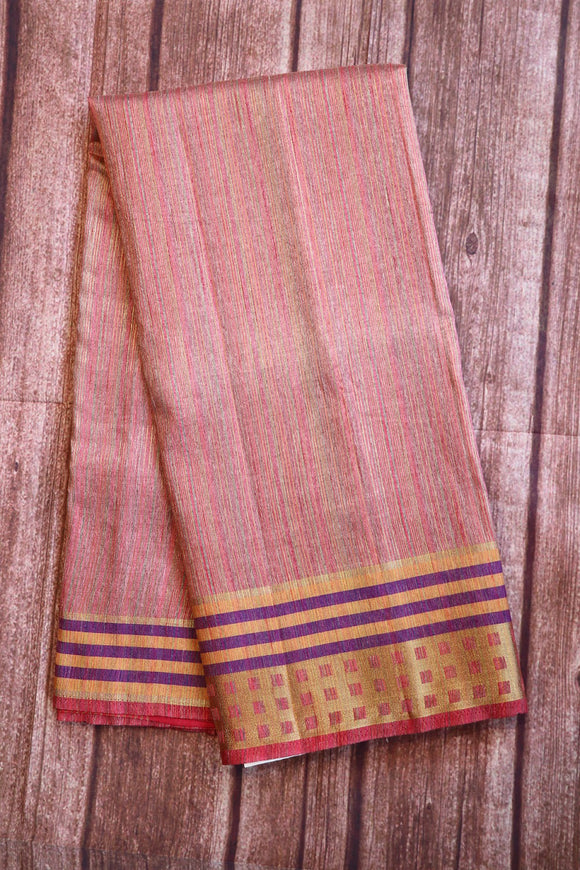 Pinkish grey colour bhagalpuri silk saree with textured design