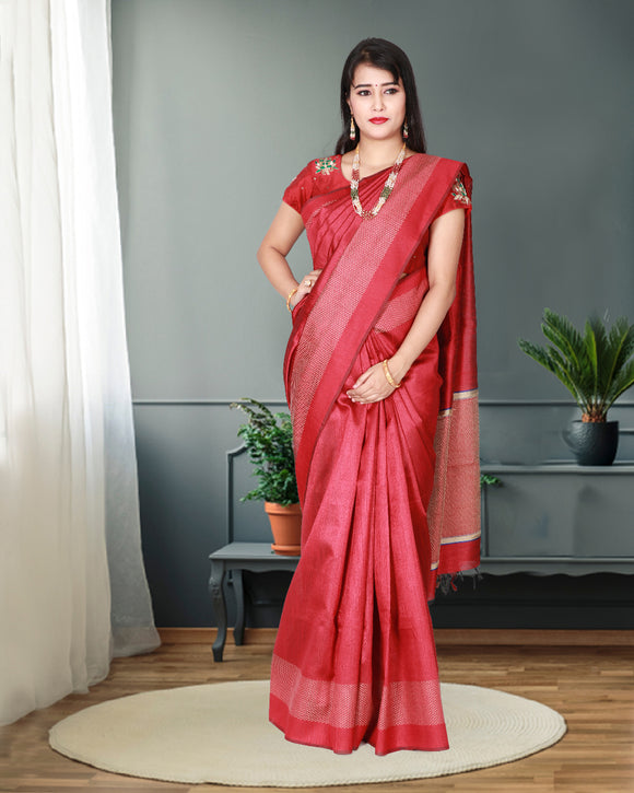 Red colour jute silk saree with elegant border