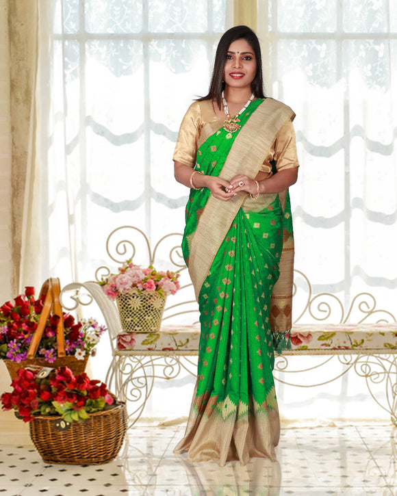Parrot green jute silk saree with designer border