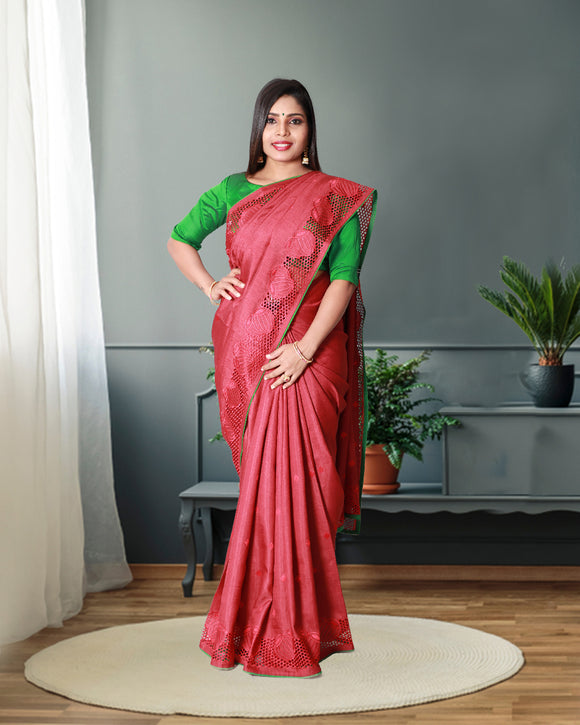 Pink colour fancy silk saree with cut work border