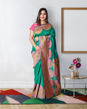 Green colour jute silk saree with contrast block weave border