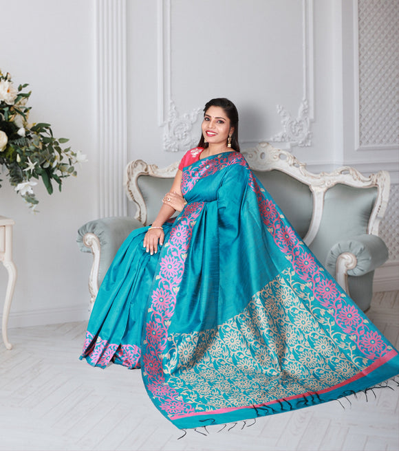 Jute silk saree with beautiful floral kalanjali style contrast border