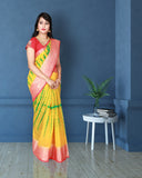 Yellow colour linen saree with kanchi border